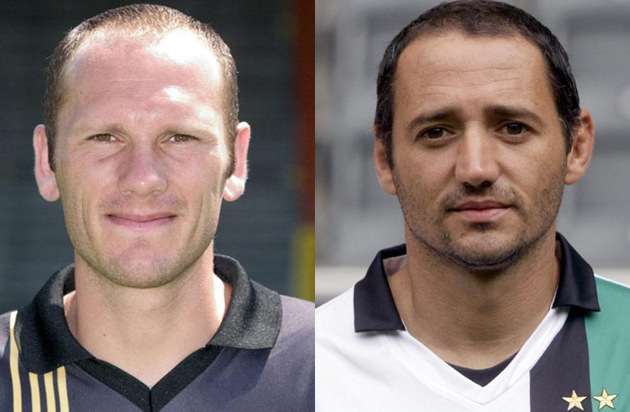 Treten beim Einlagespiel vor den Ball: RWE-Legende Erwin Koen und WM-Held Oliver Neuville.